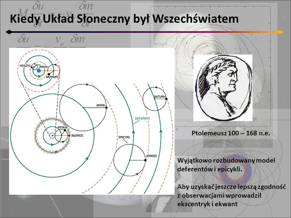 Kiedy Układ Słoneczny był Wszechświatem Ptolemeusz 100 – 168 n.e. Wyjątkowo rozbudowany model deferentów i epicykli. Aby uzyskać jeszcze lepszą zgodno