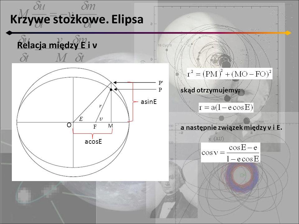Krzywe stożkowe. Elipsa acosE asinE M skąd otrzymujemy: Relacja między E i ν a następnie związek między ν i E. O