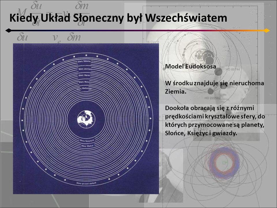 Kiedy Układ Słoneczny był Wszechświatem Model Eudoksosa W środku znajduje się nieruchoma Ziemia. Dookoła obracają się z różnymi prędkościami kryształo
