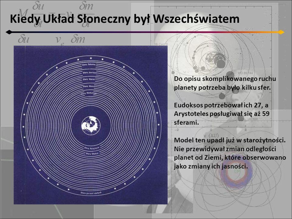 Kiedy Układ Słoneczny był Wszechświatem Do opisu skomplikowanego ruchu planety potrzeba było kilku sfer. Eudoksos potrzebował ich 27, a Arystoteles po