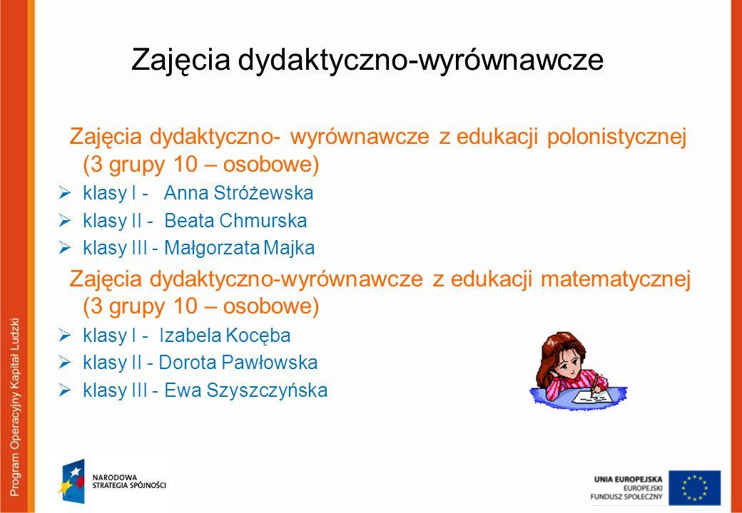 Zajęcia dydaktyczno-wyrównawcze Zajęcia dydaktyczno- wyrównawcze z edukacji polonistycznej (3 grupy 10 – osobowe) klasy I - Anna Stróżewska klasy II -