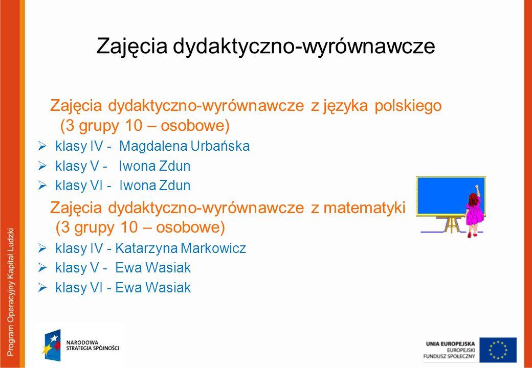 Zajęcia dydaktyczno-wyrównawcze Zajęcia dydaktyczno-wyrównawcze z języka polskiego (3 grupy 10 – osobowe) klasy IV - Magdalena Urbańska klasy V - Iwon