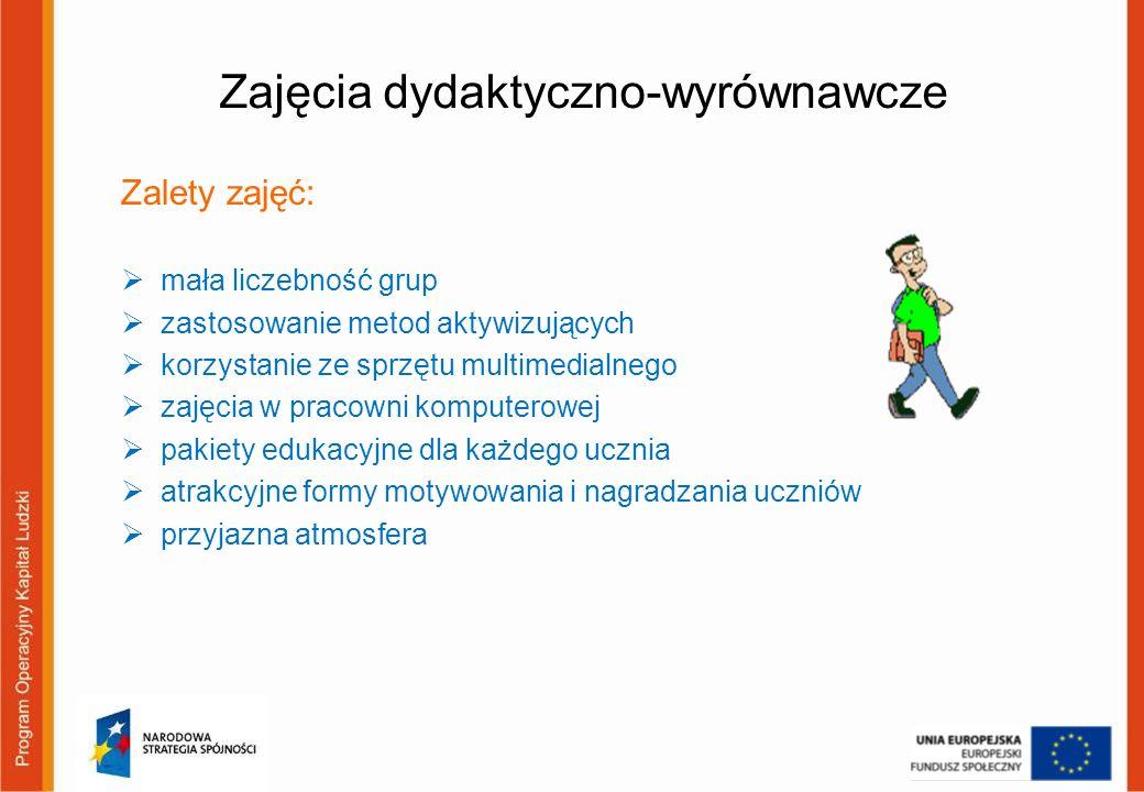 Zajęcia dydaktyczno-wyrównawcze Zalety zajęć: mała liczebność grup zastosowanie metod aktywizujących korzystanie ze sprzętu multimedialnego zajęcia w