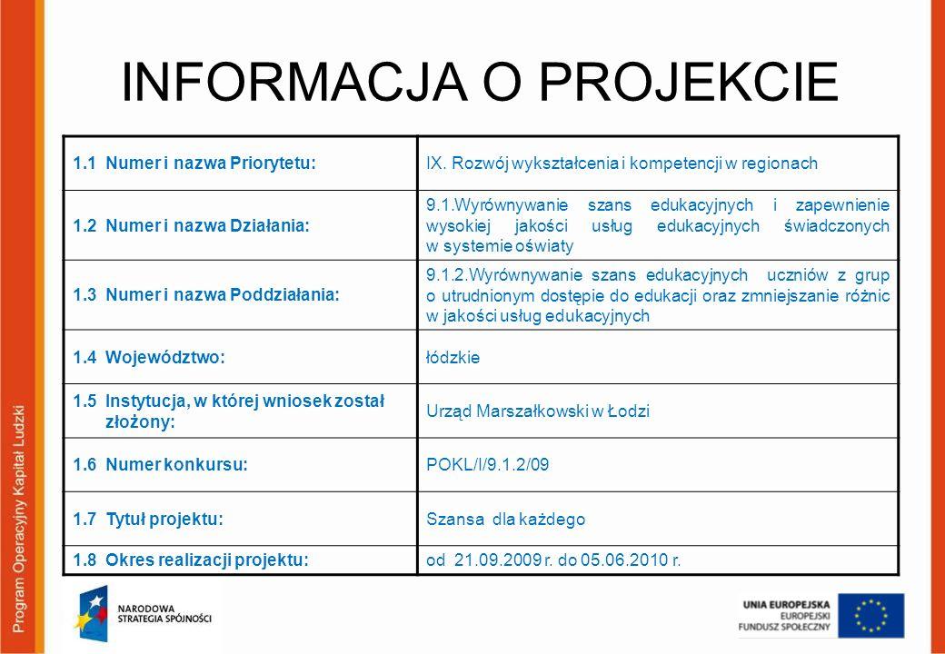 INFORMACJA O PROJEKCIE 1.1 Numer i nazwa Priorytetu:IX. Rozwój wykształcenia i kompetencji w regionach 1.2 Numer i nazwa Działania: 9.1.Wyrównywanie s