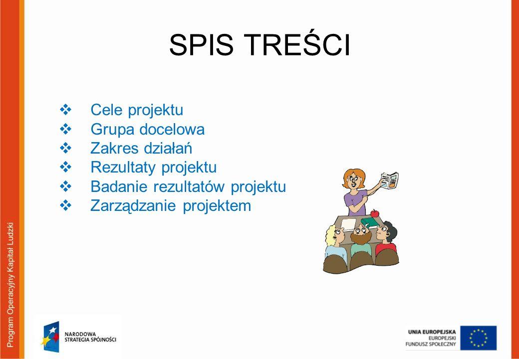 SPIS TREŚCI Cele projektu Grupa docelowa Zakres działań Rezultaty projektu Badanie rezultatów projektu Zarządzanie projektem