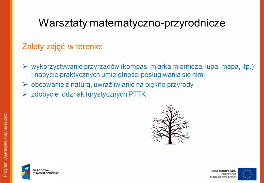 Warsztaty matematyczno-przyrodnicze Zalety zajęć w terenie: wykorzystywanie przyrządów (kompas, miarka miernicza, lupa, mapa, itp.) i nabycie praktycz