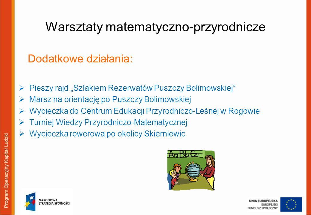 Warsztaty matematyczno-przyrodnicze Dodatkowe działania: Pieszy rajd Szlakiem Rezerwatów Puszczy Bolimowskiej Marsz na orientację po Puszczy Bolimowsk