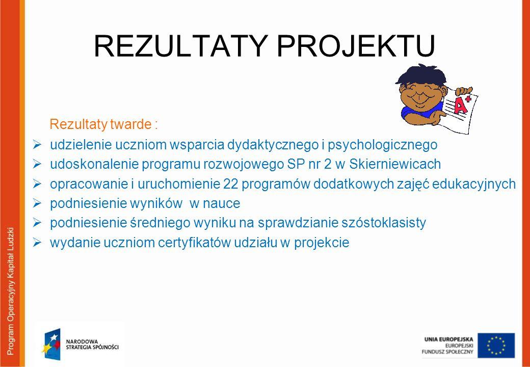 REZULTATY PROJEKTU Rezultaty twarde : udzielenie uczniom wsparcia dydaktycznego i psychologicznego udoskonalenie programu rozwojowego SP nr 2 w Skiern