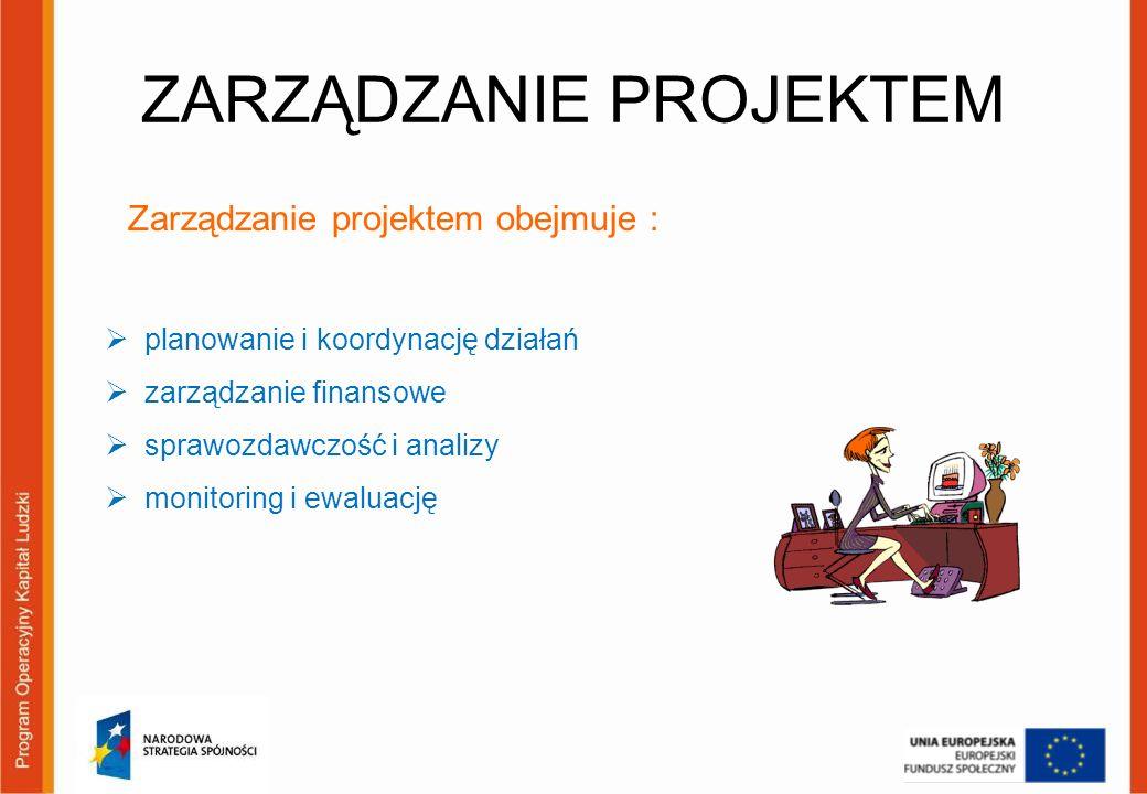 ZARZĄDZANIE PROJEKTEM Zarządzanie projektem obejmuje : planowanie i koordynację działań zarządzanie finansowe sprawozdawczość i analizy monitoring i e