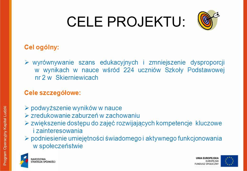 CELE PROJEKTU: Cel ogólny: wyrównywanie szans edukacyjnych i zmniejszenie dysproporcji w wynikach w nauce wśród 224 uczniów Szkoły Podstawowej nr 2 w