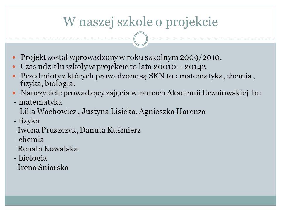W naszej szkole o projekcie Projekt został wprowadzony w roku szkolnym 2009/2010.