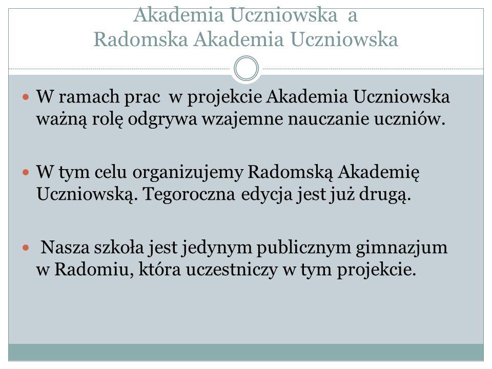 Akademia Uczniowska a Radomska Akademia Uczniowska W ramach prac w projekcie Akademia Uczniowska ważną rolę odgrywa wzajemne nauczanie uczniów.