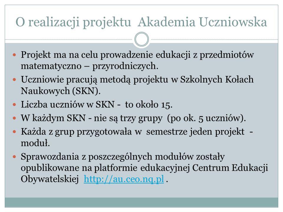 O realizacji projektu Akademia Uczniowska Projekt ma na celu prowadzenie edukacji z przedmiotów matematyczno – przyrodniczych.