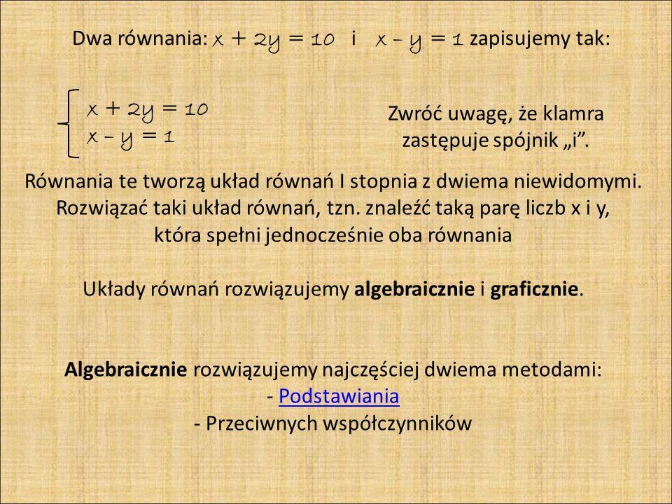 Metoda Podstawiania Przykład 1 Rozwiąż układ równań metodą podstawiania.