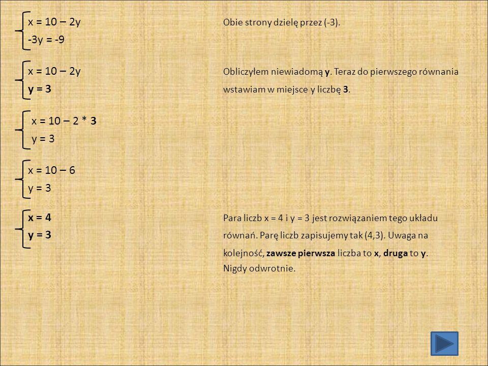 Sprawdzenie: x + 2y = 10 Do obu równań podstawiam w miejsce x liczbę 4, x – y = 1 w miejsce y liczbę 3.