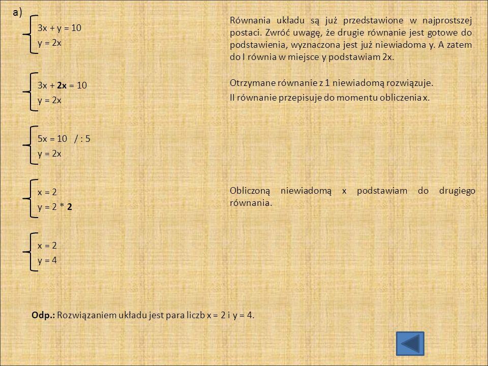 Z I równania wyznaczam x.