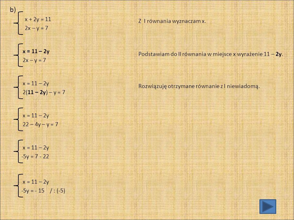 Do równania I podstawiam w miejsce y liczbę 3.
