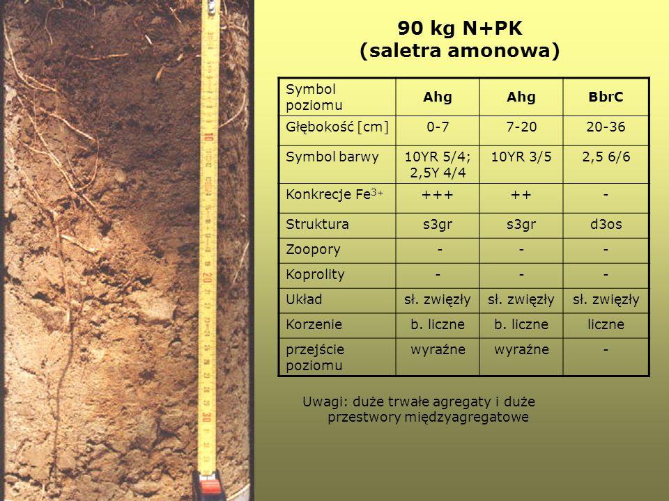 90 kg N+PK (saletra amonowa) Symbol poziomu Ahg BbrC Głębokość [cm]0-77-2020-36 Symbol barwy10YR 5/4; 2,5Y 4/4 10YR 3/52,5 6/6 Konkrecje Fe 3 + +++++-