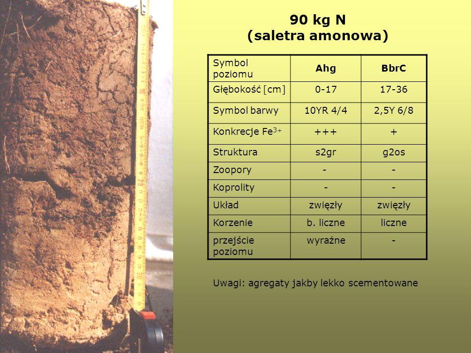 90 kg N (saletra amonowa) Symbol poziomu AhgBbrC Głębokość [cm]0-1717-36 Symbol barwy10YR 4/42,5Y 6/8 Konkrecje Fe 3 + ++++ Strukturas2grg2os Zoopory-