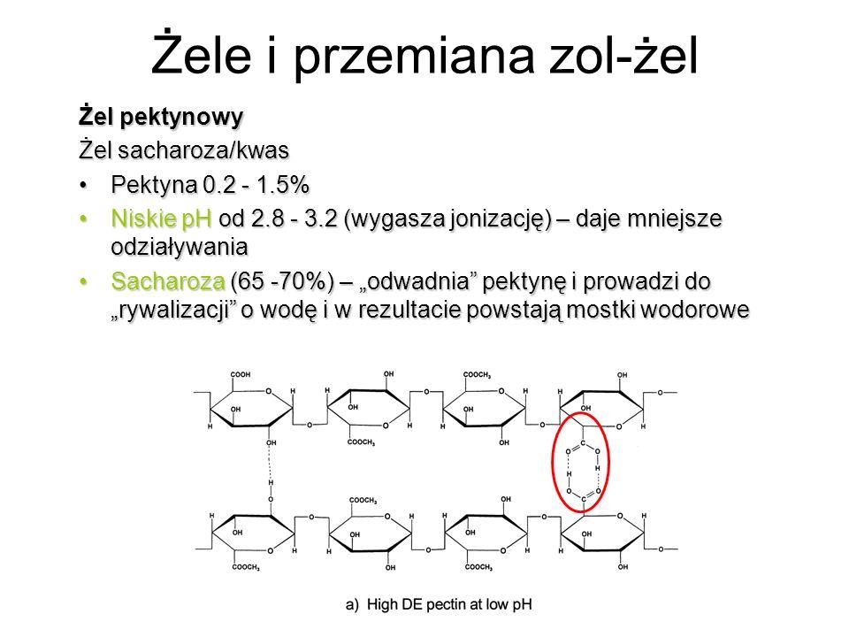 Żel pektynowy Żel sacharoza/kwas Pektyna 0.2 - 1.5%Pektyna 0.2 - 1.5% Niskie pH od 2.8 - 3.2 (wygasza jonizację) – daje mniejsze odziaływaniaNiskie pH