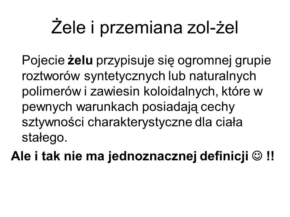 Żele i przemiana zol-żel Kiedy powstaje żel ?.