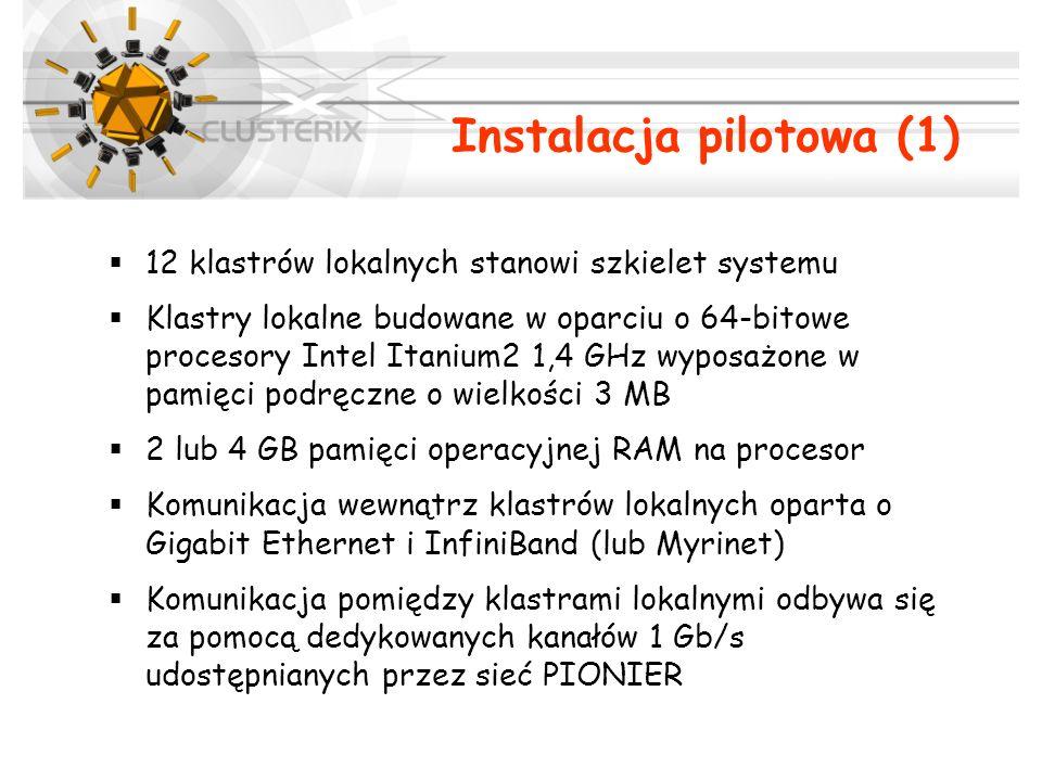 Instalacja pilotowa (1) 12 klastrów lokalnych stanowi szkielet systemu Klastry lokalne budowane w oparciu o 64-bitowe procesory Intel Itanium2 1,4 GHz