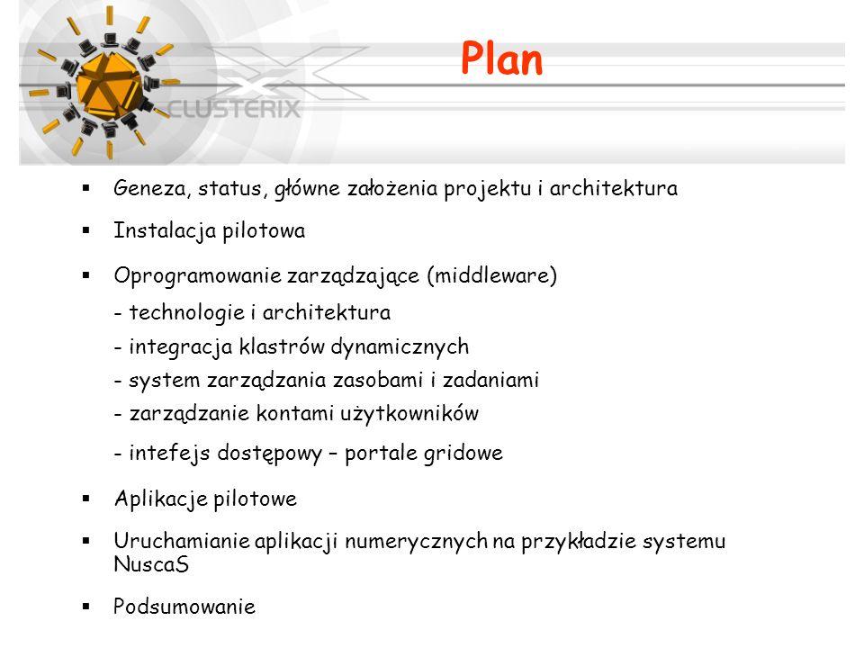 Geneza, status, główne założenia projektu i architektura Instalacja pilotowa Oprogramowanie zarządzające (middleware) - technologie i architektura - i