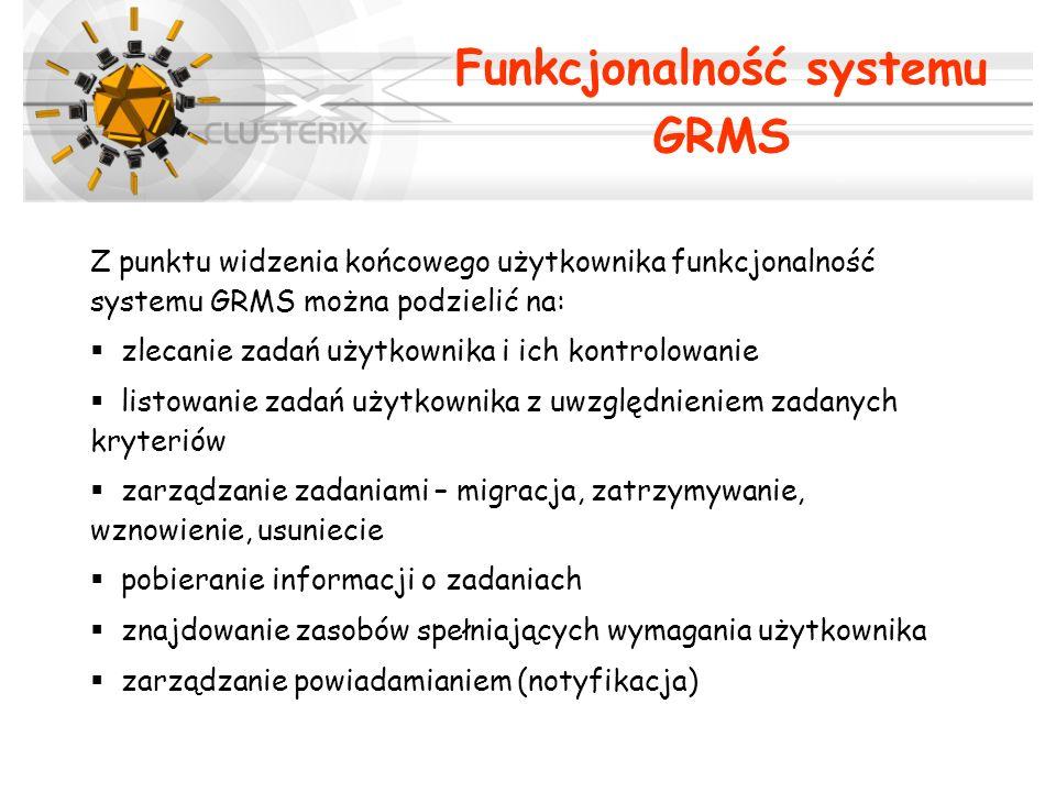 Z punktu widzenia końcowego użytkownika funkcjonalność systemu GRMS można podzielić na: zlecanie zadań użytkownika i ich kontrolowanie listowanie zada