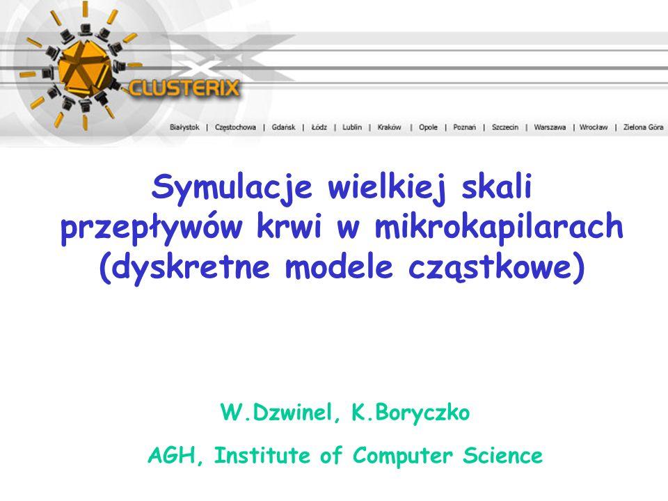 W.Dzwinel, K.Boryczko AGH, Institute of Computer Science Symulacje wielkiej skali przepływów krwi w mikrokapilarach (dyskretne modele cząstkowe)