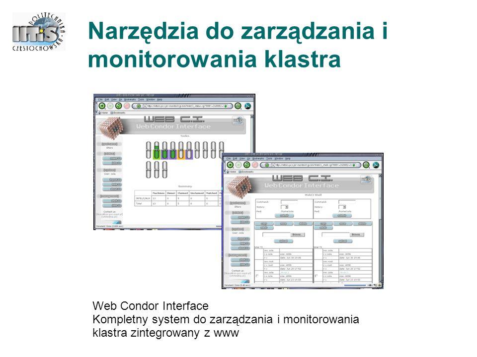 Oprogramowanie zarządzające systemem CLUSTERIX - technologie Tworzone oprogramowanie bazuje na Globus Toolkit 2.4 oraz WEB serwisach - możliwość powtórnego wykorzystania tworzonego oprogramowania - zapewnia interoperacyjność z innymi systemami gridowymi na poziomie serwisów Technologia Open Source, w tym LINUX (Debian, jadro 2.6.x) oraz systemy kolejkowe (Open PBS, SGE) - oprogramowanie Open Source jest bardziej podatne na integrację zarówno z istniejącymi, jak i z nowymi produktami - dostęp do kodu źródłowego projektu ułatwia dokonywania zmian i ich publikację - większa niezawodność i bezpieczeństwo Szerokie wykorzystanie istniejących modułów programowych, np.