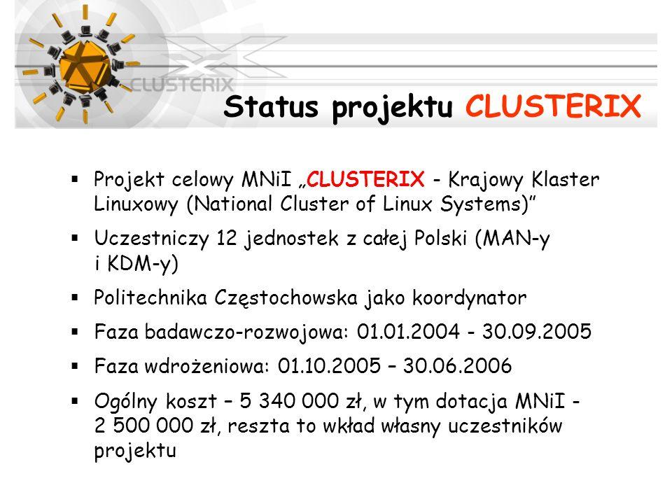 Status projektu CLUSTERIX Projekt celowy MNiI CLUSTERIX - Krajowy Klaster Linuxowy (National Cluster of Linux Systems) Uczestniczy 12 jednostek z całe