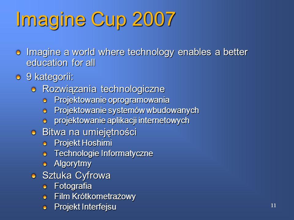 Imagine a world where technology enables a better education for all 9 kategorii: Rozwiązania technologiczne Projektowanie oprogramowania Projektowanie
