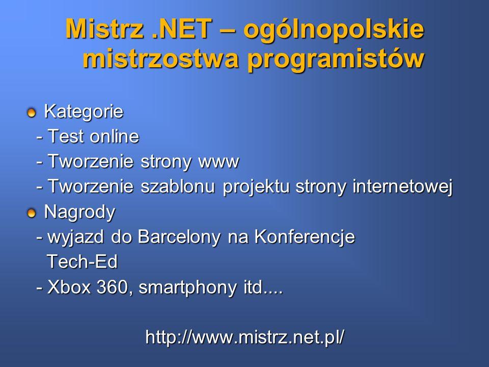 Mistrz.NET – ogólnopolskie mistrzostwa programistów Kategorie - Test online - Test online - Tworzenie strony www - Tworzenie strony www - Tworzenie sz