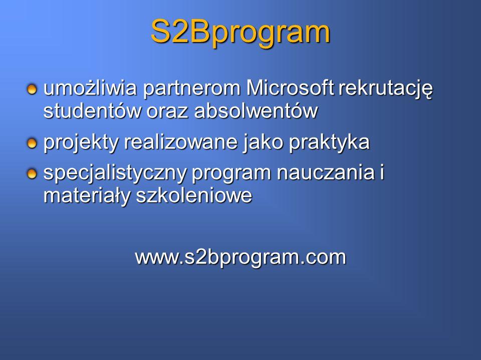 S2Bprogram umożliwia partnerom Microsoft rekrutację studentów oraz absolwentów projekty realizowane jako praktyka specjalistyczny program nauczania i