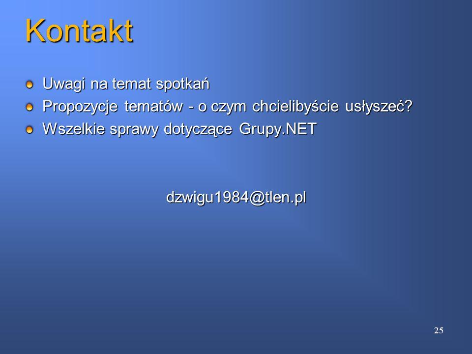 Kontakt Uwagi na temat spotkań Propozycje tematów - o czym chcielibyście usłyszeć? Wszelkie sprawy dotyczące Grupy.NET dzwigu1984@tlen.pl 25