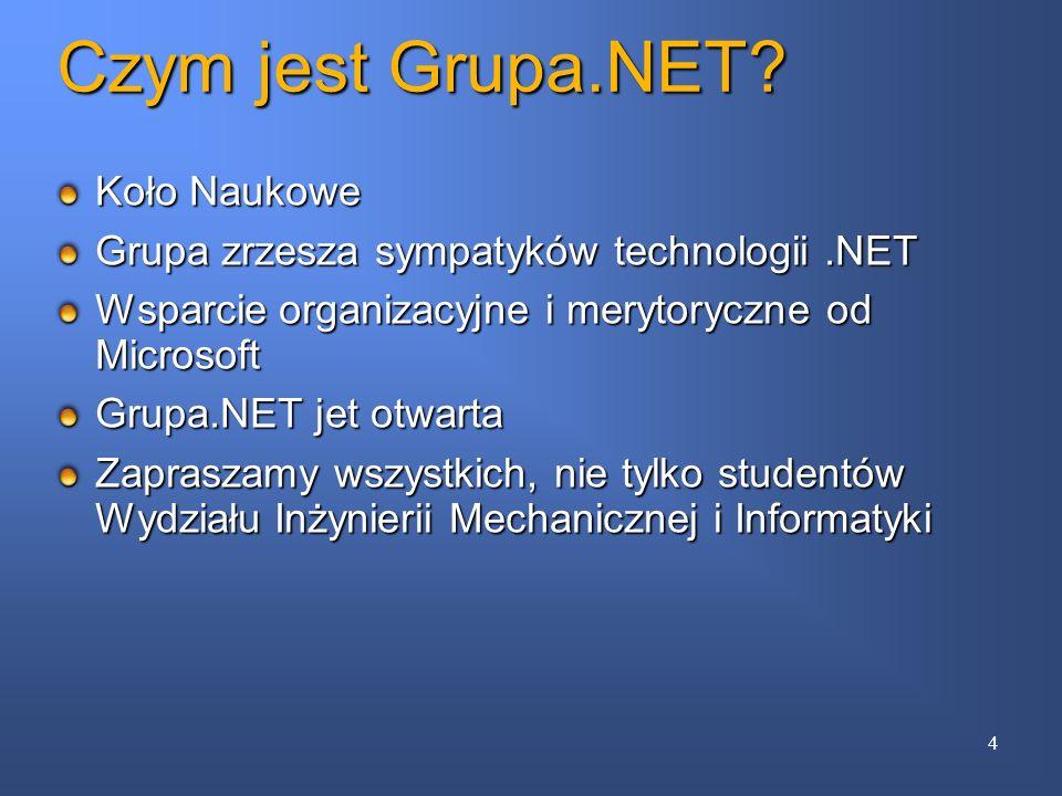 Czym jest Grupa.NET? Koło Naukowe Grupa zrzesza sympatyków technologii.NET Wsparcie organizacyjne i merytoryczne od Microsoft Grupa.NET jet otwarta Za