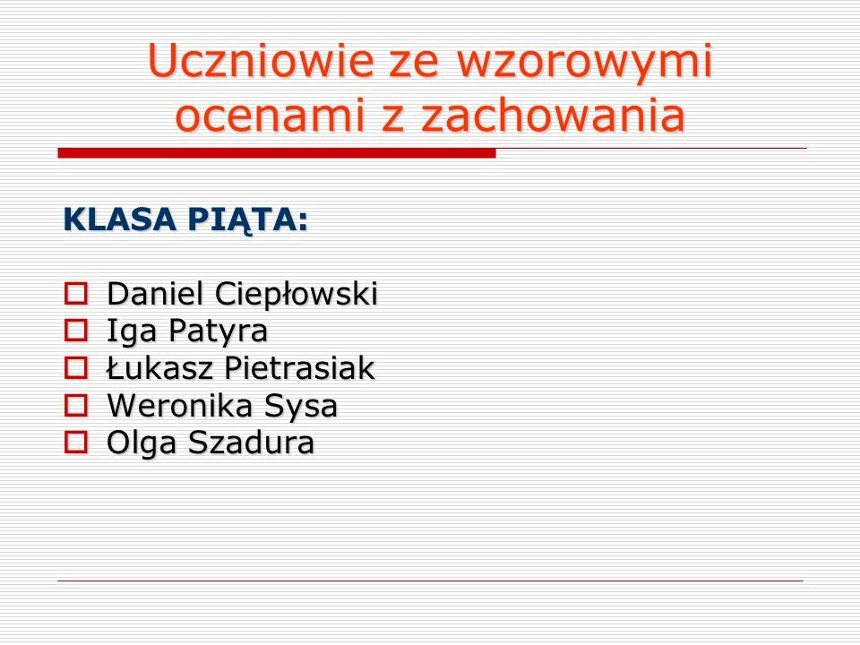 Uczniowie ze wzorowymi ocenami z zachowania KLASA CZWARTA: Milena Mazurek Milena Mazurek