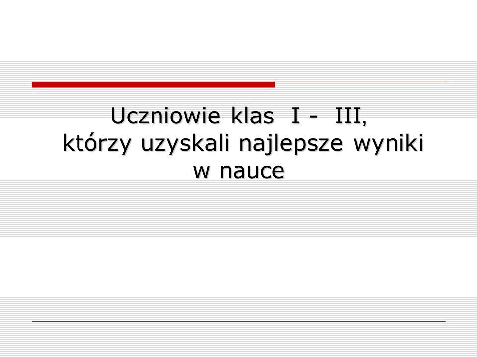 Uczniowie Szkoły Podstawowej w Łopienniku Dolnym, którzy osiągnęli najlepsze wyniki w nauce I semestr rok szkolny 2011/2012