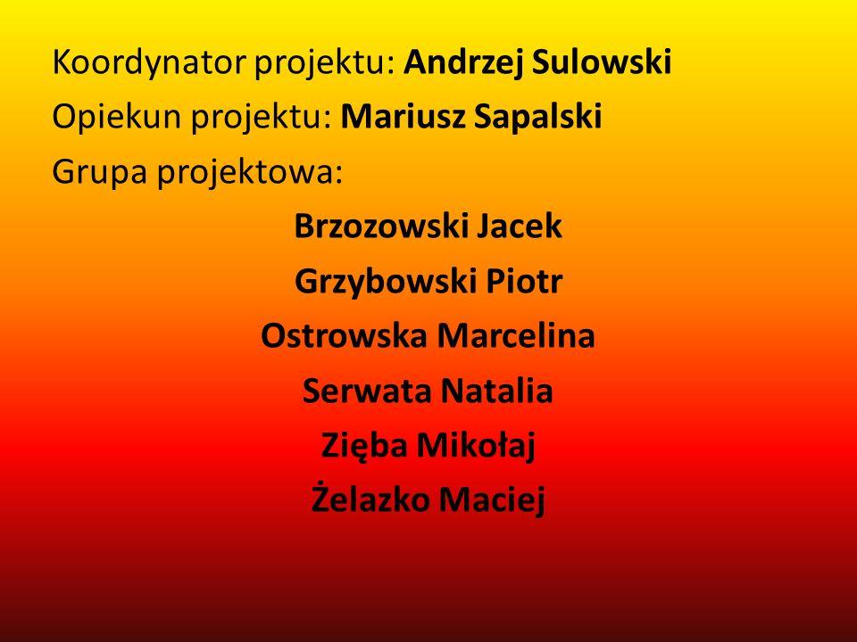 Koordynator projektu: Andrzej Sulowski Opiekun projektu: Mariusz Sapalski Grupa projektowa: Brzozowski Jacek Grzybowski Piotr Ostrowska Marcelina Serw