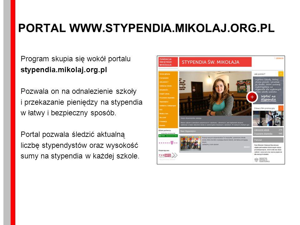 PORTAL WWW.STYPENDIA.MIKOLAJ.ORG.PL Program skupia się wokół portalu stypendia.mikolaj.org.pl Pozwala on na odnalezienie szkoły i przekazanie pieniędzy na stypendia w łatwy i bezpieczny sposób.