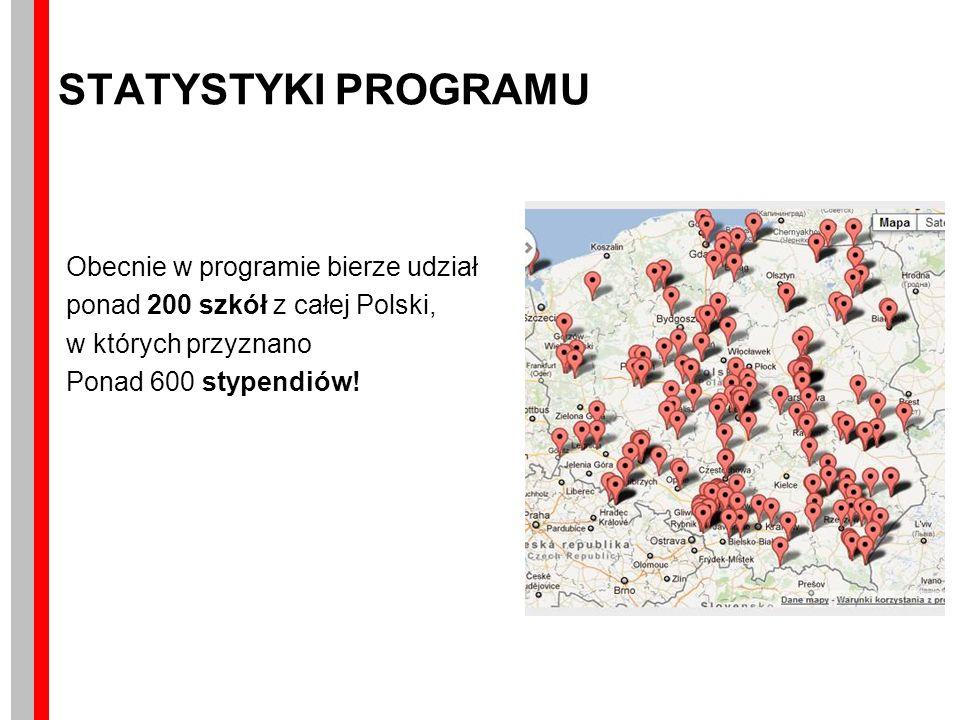STATYSTYKI PROGRAMU Obecnie w programie bierze udział ponad 200 szkół z całej Polski, w których przyznano Ponad 600 stypendiów!