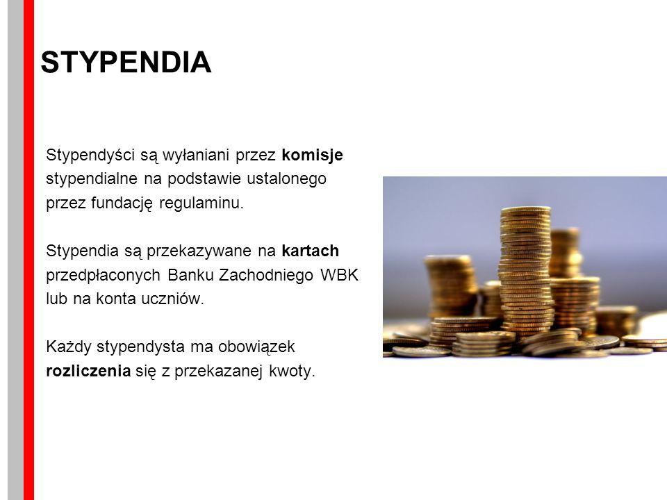 STYPENDIA Stypendyści są wyłaniani przez komisje stypendialne na podstawie ustalonego przez fundację regulaminu.