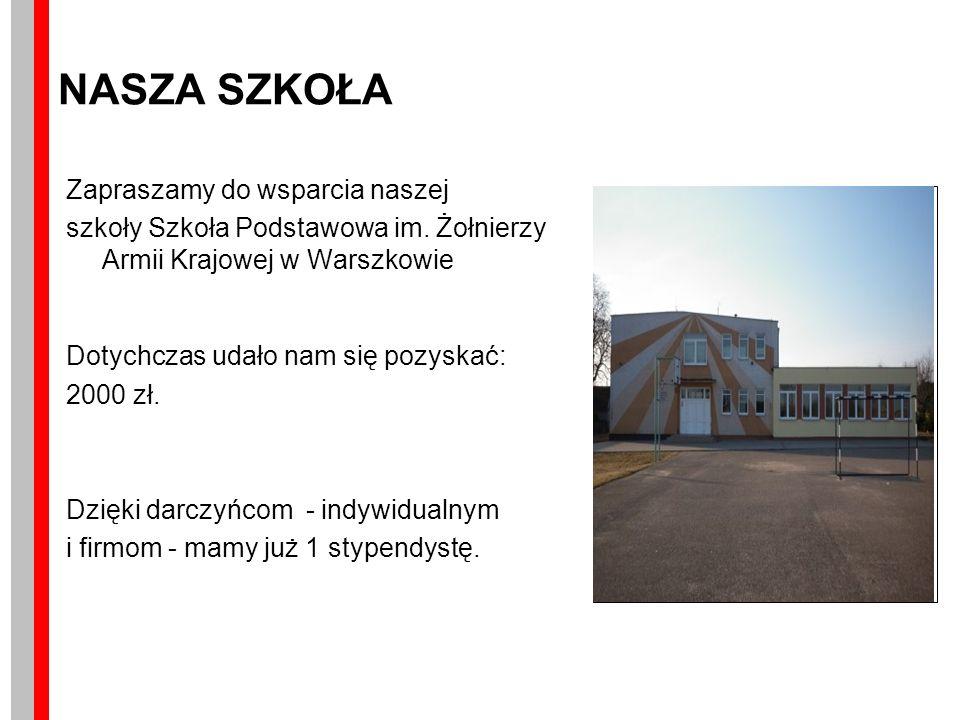 NASZA SZKOŁA Zapraszamy do wsparcia naszej szkoły Szkoła Podstawowa im.