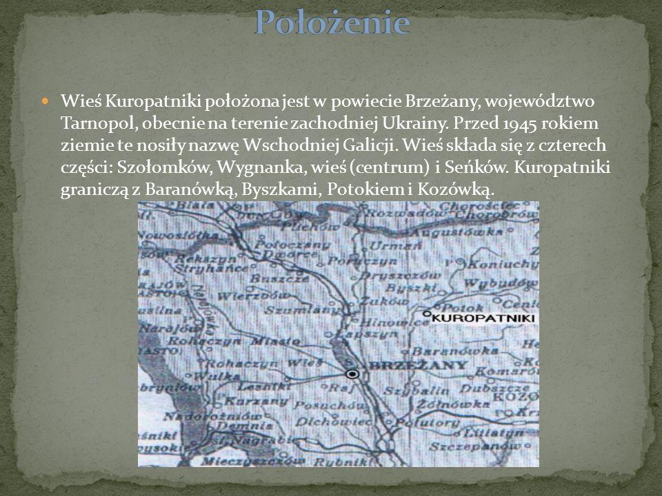 Wieś Kuropatniki położona jest w powiecie Brzeżany, województwo Tarnopol, obecnie na terenie zachodniej Ukrainy. Przed 1945 rokiem ziemie te nosiły na
