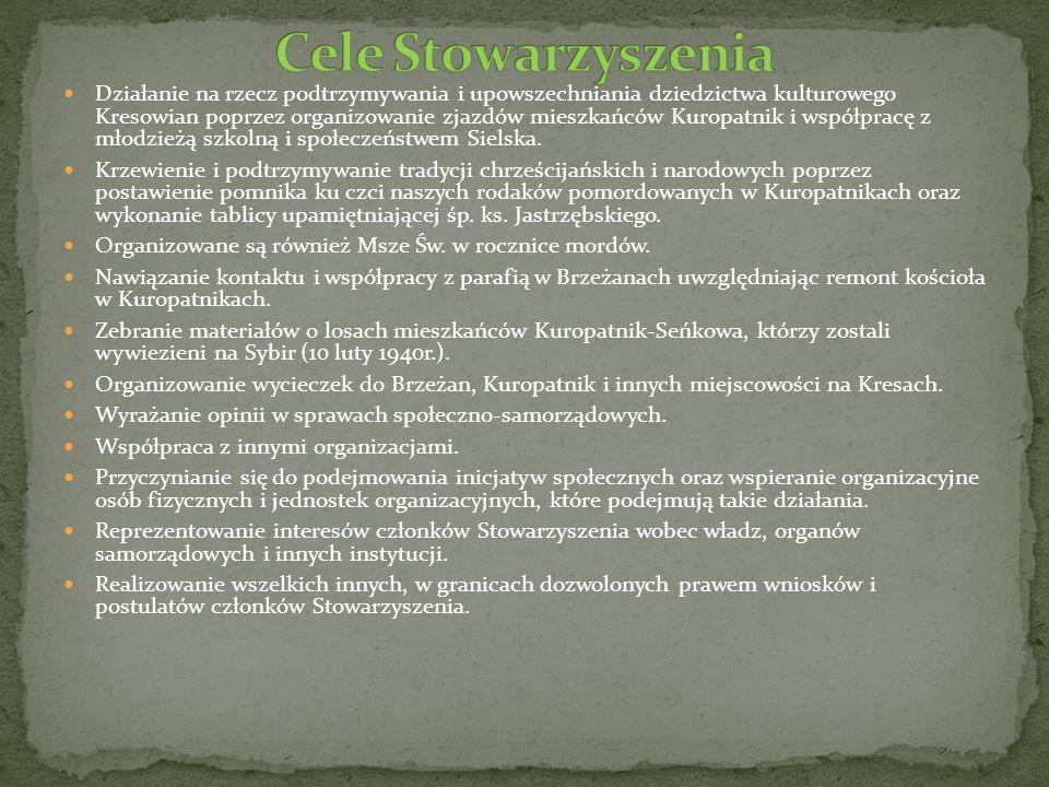 Działanie na rzecz podtrzymywania i upowszechniania dziedzictwa kulturowego Kresowian poprzez organizowanie zjazdów mieszkańców Kuropatnik i współprac