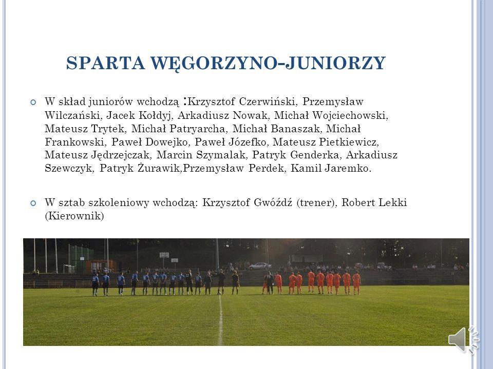 SPARTA WĘGORZYNO - JUNIORZY W skład juniorów wchodzą : Krzysztof Czerwiński, Przemysław Wilczański, Jacek Kołdyj, Arkadiusz Nowak, Michał Wojciechowsk
