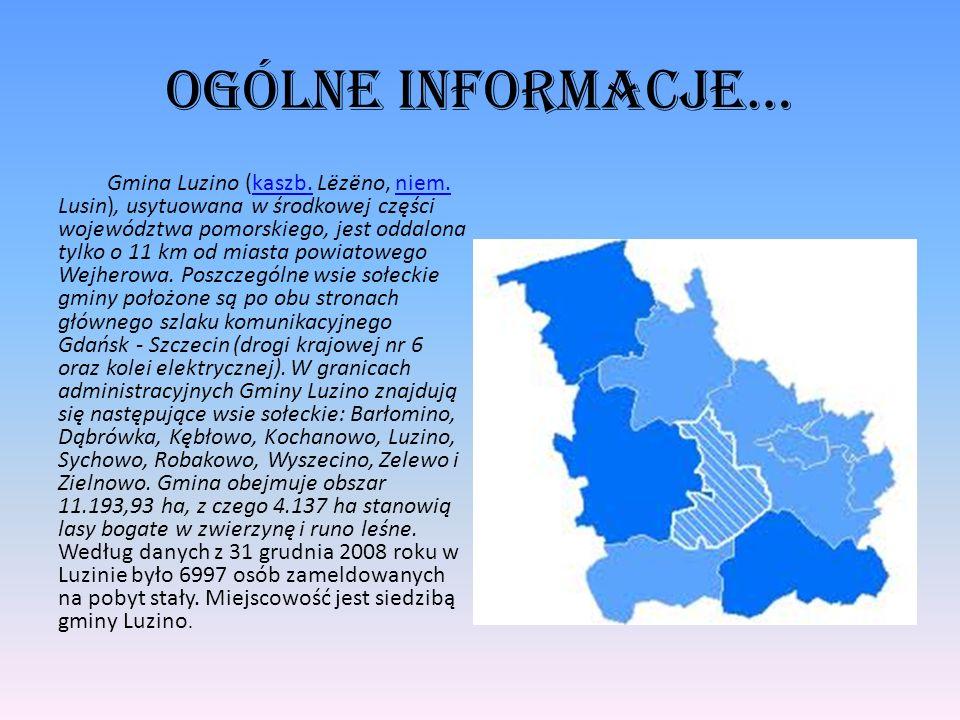 Ogólne informacje… Gmina Luzino (kaszb. Lëzëno, niem. Lusin), usytuowana w środkowej części województwa pomorskiego, jest oddalona tylko o 11 km od mi
