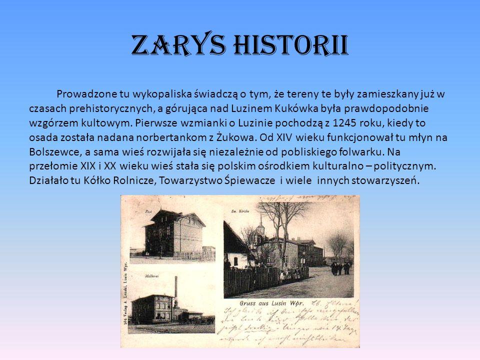 Zarys historii Prowadzone tu wykopaliska świadczą o tym, że tereny te były zamieszkany już w czasach prehistorycznych, a górująca nad Luzinem Kukówka