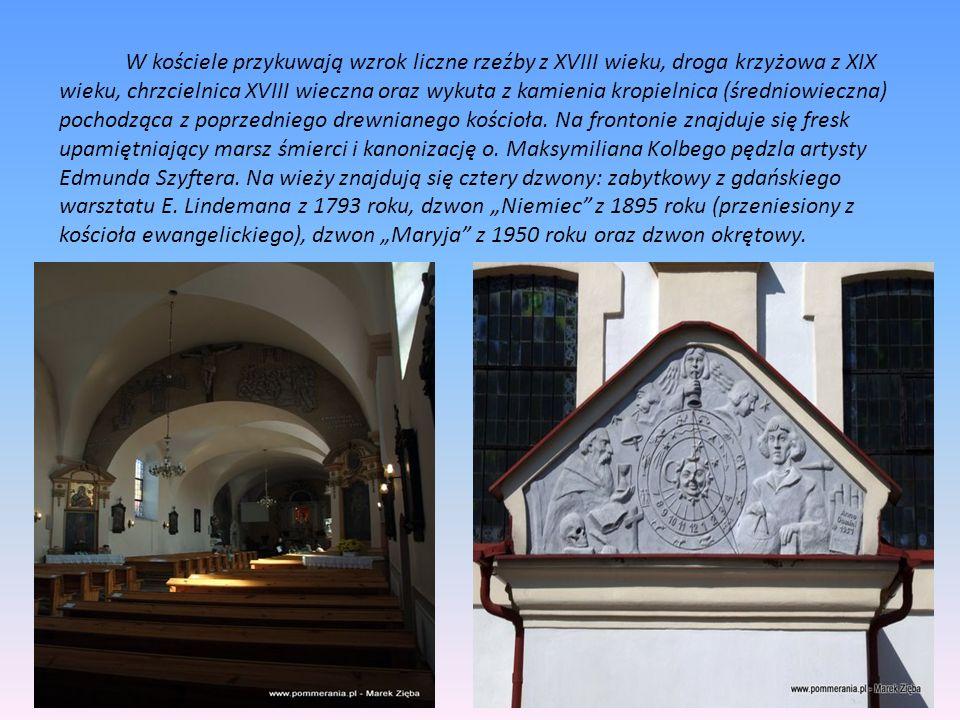 W kościele przykuwają wzrok liczne rzeźby z XVIII wieku, droga krzyżowa z XIX wieku, chrzcielnica XVIII wieczna oraz wykuta z kamienia kropielnica (śr