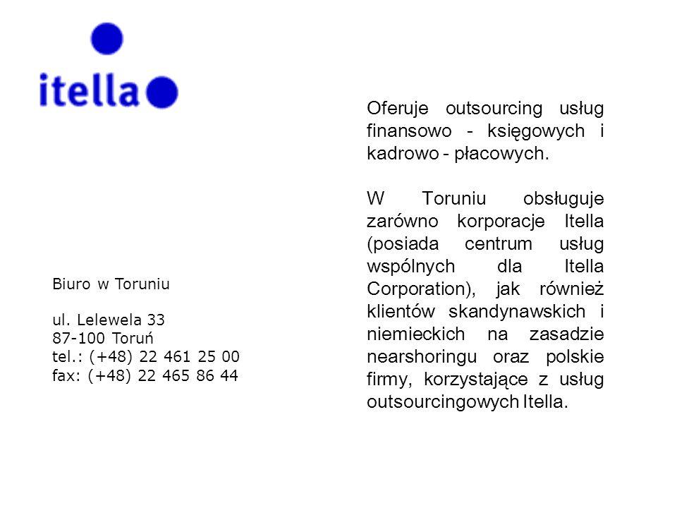 Oferuje outsourcing usług finansowo - księgowych i kadrowo - płacowych. W Toruniu obsługuje zarówno korporacje Itella (posiada centrum usług wspólnych
